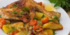 دجاج مشوي مع الخضار